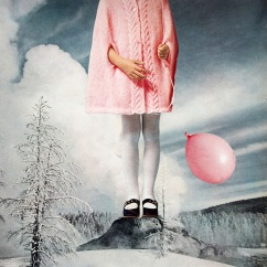 Giant baby girl body surrounded by a winter landscape and dressed in pink and holding a pink balloon.