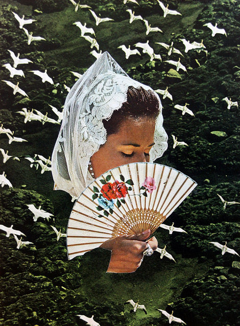 Woman head with veil and a fan surrounded by a natural landscape with birds flying.