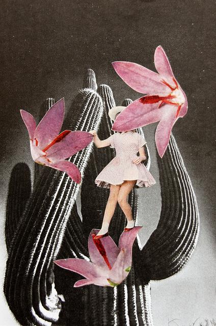 Baby girl body walking over giant pink flowers.