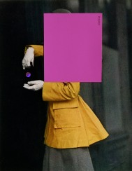 Fashion photography of a woman covered with a purple rectangular paper cut.