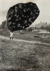 Black and white image of a man seen from the back walking into a park with a giant textile floating over his head.