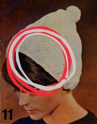 Woman with hat image decorated with circled cut paper.