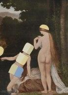 Classic nudes portrait decorated with coloured paper scraps.