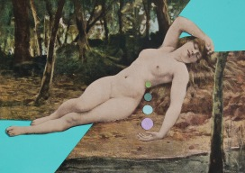 Classic nude portrait decorated with coloured paper scraps.