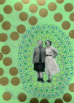 Couple of women photo surrounded by abstract golden and green forms.