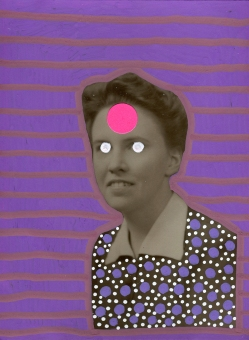 Vintage woman portrait decorated with purple and neon pink materials.