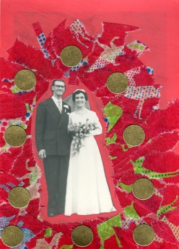 Vintage wedding couple photo decorated with red and golden materials.
