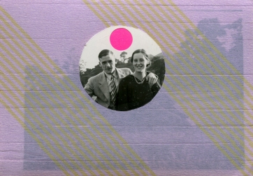 Vintage couple photo decorated with lilac washi tape.