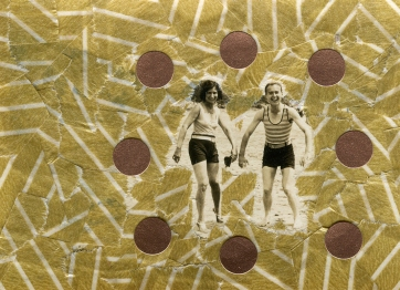 Vintage photo of two people at the beach decorated with golden washi tape.