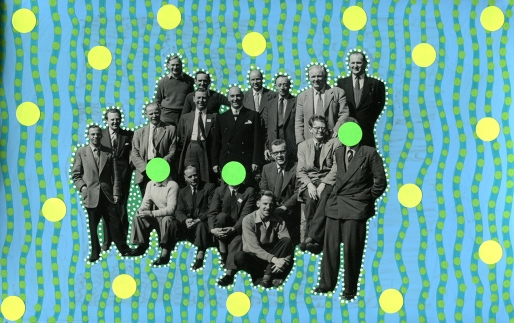 Vintage group portrait of men altered using posca pens and stickers.