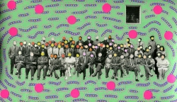 Vintage group photo altered with pens and stickers.