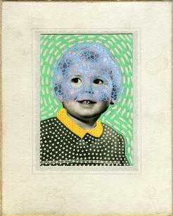 Vintage baby boy portrait altered using uni posca pens.