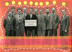 Vintage group of men photo altered with