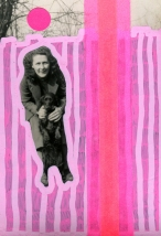Vintage woman photo with dog manipulated using posca pens and neon washi tape.