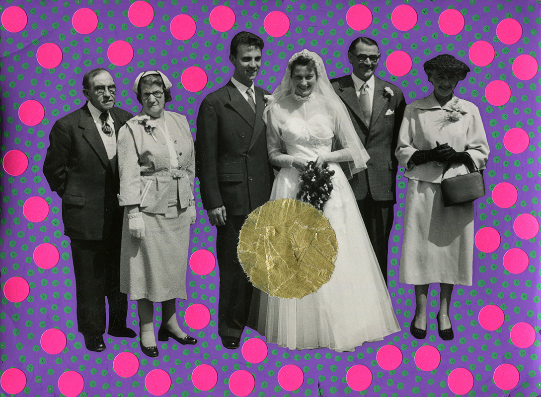 Vintage wedding group photo manipulated with washi tape, stickers and pens.