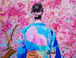 Japanese woman with kimono seen from the back.