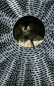 Vintage photo of two people kissing.