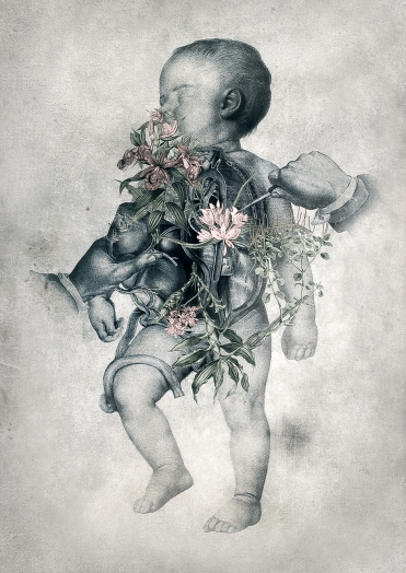 Collage of a newborn baby with flowers coming out from his chest.