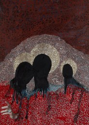 Portrait of a group of three faceless people.