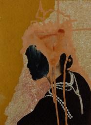 Portrait of a profile faceless woman.
