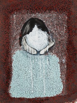 Portrait of a faceless woman.