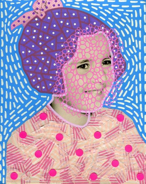 Altered vintage baby girl portrait.