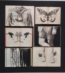 Vintage books installation with body parts and a butterfly illustration painted over.