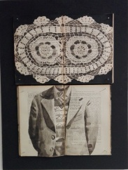Vintage books installation with a doily and a male torso illustration painted over.
