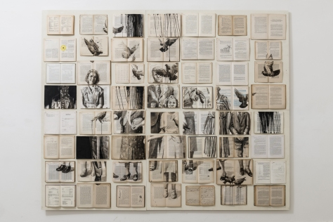 Vintage books installation with a family photo and flying birds painted over.