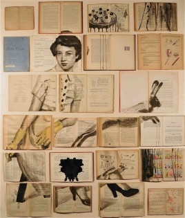 Vintage books installation with a woman portrait, a cake and a rabbit illustration painted over.