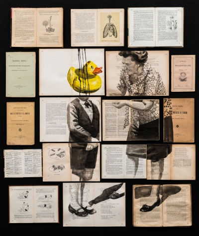 Vintage books installation with a woman and a kid with a duck face portraits illustrated over.
