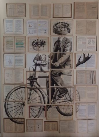 Vintage books installation with a man riding a bicycle and a kid with a cake head illustrated over.
