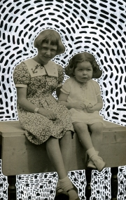 Vintage portrait of two baby girls.