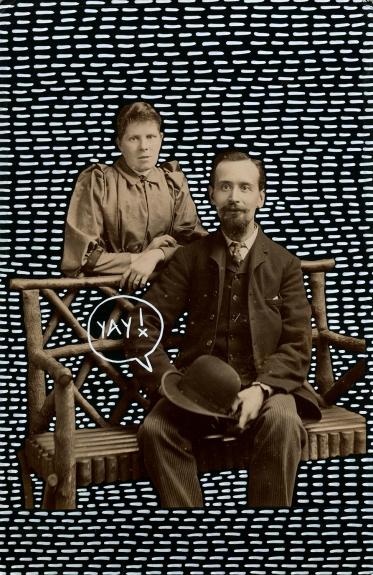Altered vintage couple portrait.