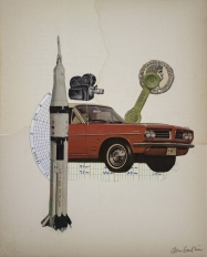 Collage of a phone, a missile, a car and a videocamera.