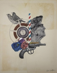 Collage of two birds, flowers, a gun a a woman profile portrait.