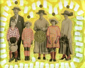 Altered vintage family portrait.