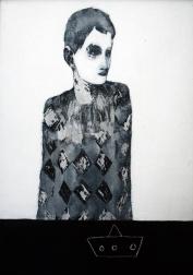 Harlequin style portrait.
