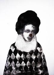 Smiling harlequin style portrait.