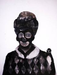 Harlequin style portrait with mask.