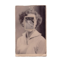 Vintage woman portrait with the face covered by a vintage full body female portrait.