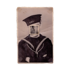 Vintage sailor portrait with the face covered by a vintage photo.