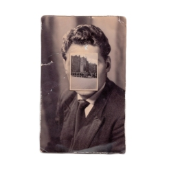 Vintage man portrait with the face covered by a vintage photo.