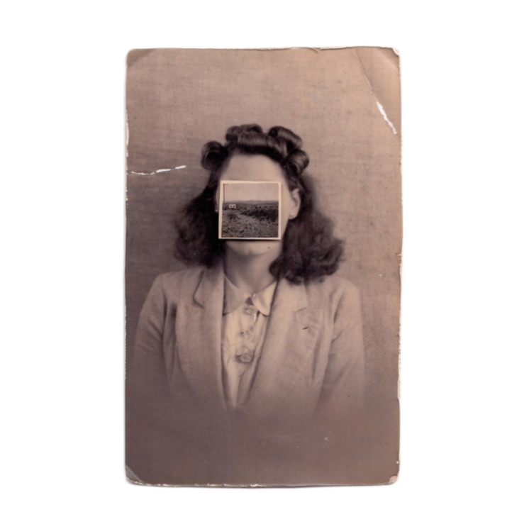 Vintage woman portrait with the face covered by a vintage photo.