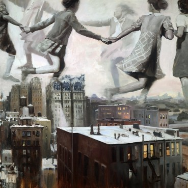 Group of giant kids playing over a city.