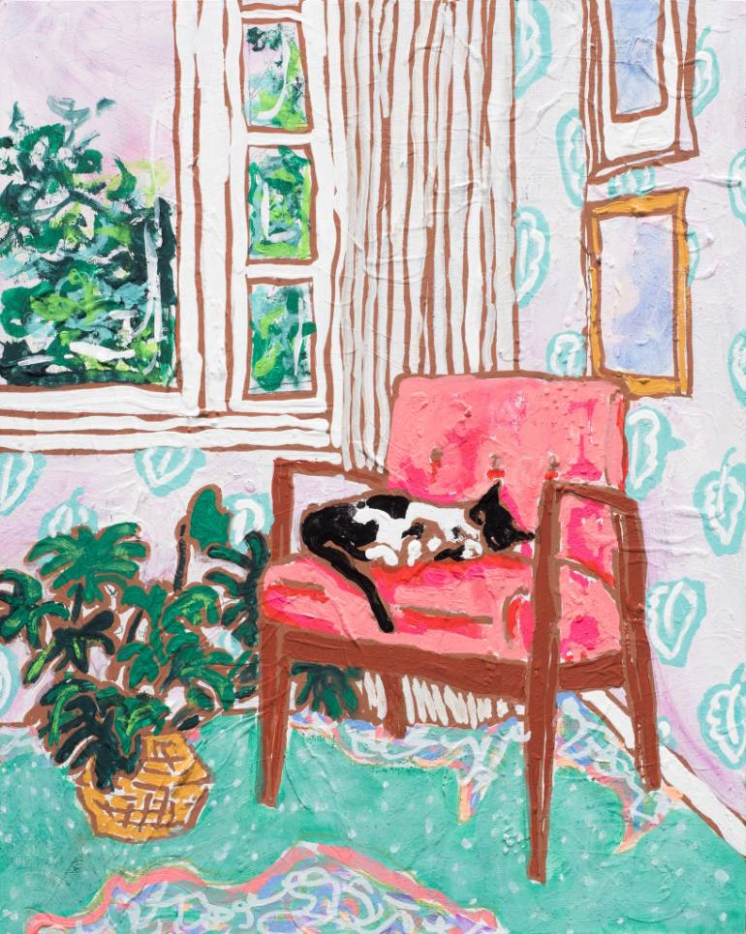A Pink Chair By The Window