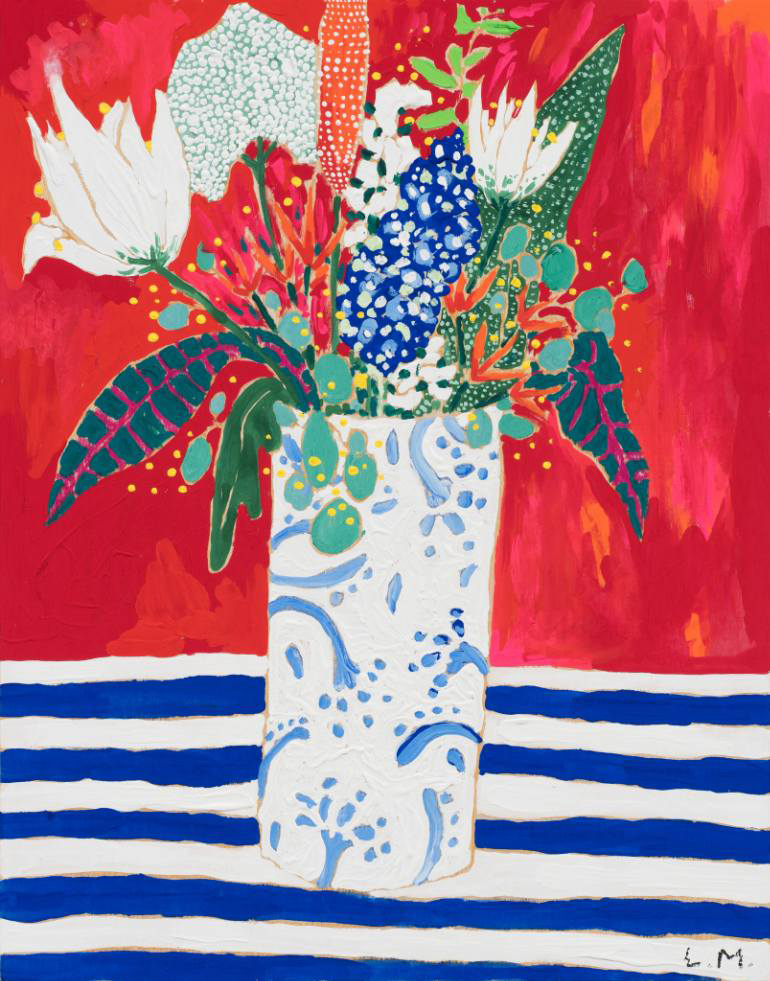 Vase of Flowers on a Striped Table Cloth