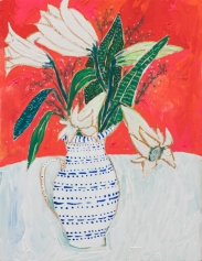 Vase with flowers still life.