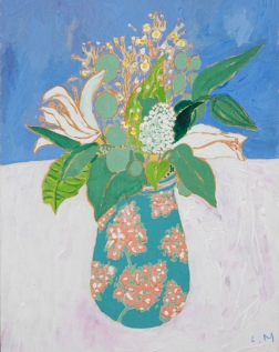 Still Life Painting of Easter Lilies in a Vase