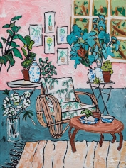 Pink Interiors With Plants